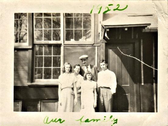 Grandpa Desh with the family & his print shop-