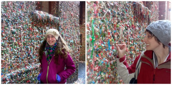 Sam says:  Yuck---Disgusting---Don't Touch Mom says:  You can't come to the gum wall & not add a piece!