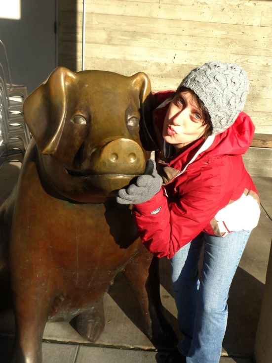 The locals rub her snout for good luck---I went for extra luck and puckered up!