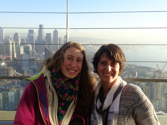 At the top of the Space Needle.  It was abnormally sunny for our trip!